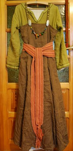 apron dress linen layers and woven sash belt