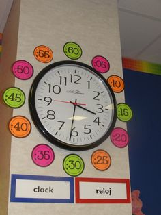 Classroom Clock idea for when teaching time telling. Classroom Clock, Math Classroom, Future Classroom, Classroom Decor, Bilingual Classroom, Teaching Time, Teaching Tools, Teaching Math, Maths