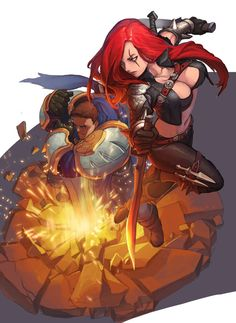 Garen and Katarina (from League of Legends). Fan art by Penett  Usually I like to post concepts to this board, but I really like the representation, and the characters represented, by this artist; had to share xD