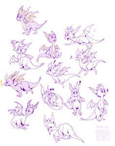Spyro character, fan art -- expressions -- spyro doodle sheet by milkdeer on deviantART