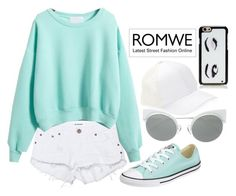 """""""ROMWE Sweatshirt"""" by angelxalice ❤ liked on Polyvore featuring BCBGeneration, Kate Spade, One Teaspoon, Converse, Fendi, Summer, romwe, teal and whitedenim"""