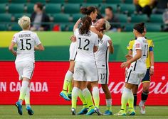 Celebrating Carli Lloyd's PK against Colombia, June 22, 2015. From left: Megan Rapinoe, Lauren Holiday, Lloyd, Abby Wambach, Ali Krieger. (Kevin C. Cox/Getty Images)