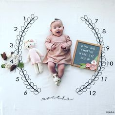 The cutest milestone blanket out there! The Wreath Milestone Blanket will help you track the age of your baby in style! Easy and fast for scrapbooking made easy! Milestone Pictures, Monthly Pictures, Baby Pictures, The Babys, Birth Announcement Girl, Baby Milestones, Baby Grows, Diy For Girls, Baby Month By Month