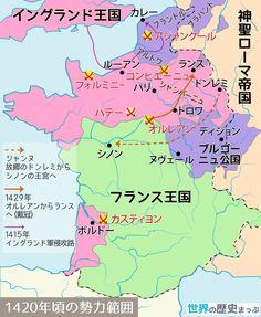 1420年頃の勢力範囲地図 - 世界の歴史まっぷ #無料ダウンロード #世界史 #歴史地図 #百年戦争