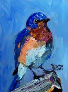 Norma Wilson Original Oil Bluebird Bird Art -- Norma Wilson