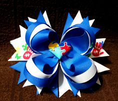 Autism Awareness Boutique Stacked Loopy Hair Bow -Light it up Blue