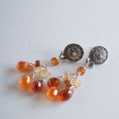 Silver Dangling Garnet Earrings Gemstone Drop Sterling Stud Earrings Dangling Gemstone Earring Studs Orange Color Gemstones High End by ElektraJewelry on Etsy