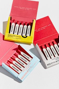 Slide View: 1: Red Earth Have Fun Lipstick Matchbook Trio