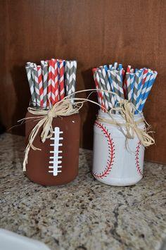 Baby Shower: {Vintage} Sports Theme – Shut The Front Dorr Cute DIY mason jars for an All Star Sports baby. Baby Q Shower, 2nd Baby Showers, Couples Baby Showers, Baby Shower Vintage, Boy Baby Shower Themes, Baby Shower Sports, Football Baby Shower, Sports Baby, Mason Jars