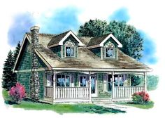 Country Style House Plans - 1007 Square Foot Home , 2 Story, 2 Bedroom and 1 Bath,  Garage Stalls by Monster House Plans - Plan 40-140