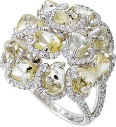 Champagne Bubbles Cocktail ring featuring 12.17cts of rough diamonds accented with 0.73cts of mic...