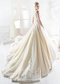 nicole spose 2018 bridal sleeveless illusion bateau v neck heavily embellished bodice princess champagne a line wedding dress sheer button back royal train bv -- 15 Regal Wedding Dresses Fit for a Royal Wedding Sheer Wedding Dress, Classic Wedding Dress, Wedding Gowns, Ball Dresses, Bridal Dresses, Ball Gowns, Anna Campbell, Dress Vestidos, Long Sleeve Wedding