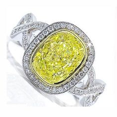 2.14Ct Yellow Oval Diamond Accent Engagement Ring 18k Gold by ChanceDiamonds.com at the XYS Online