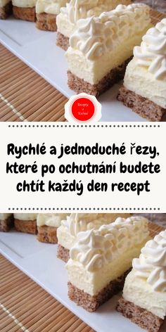 Rychlé a jednoduché řezy, které po ochutnání budete chtít každý den recept Czech Recipes, Tiramisu, Baking Recipes, Ham, Food And Drink, Menu, Yummy Food, Sweets, Cheese