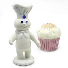 Pillsbury Dough Boy & Cupcake Salt And Pepper Shakers Ceramic Collectible NIB Salt N Pepa, Pillsbury Dough, Cupcakes For Boys, Fancy Cookies, Salt And Pepper Set, Salt Pepper Shakers, Cookie Jars, Yummy Food, Stuffed Peppers