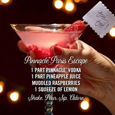 #Pinnacle Paris Escape  1 part Pinnacle® Vodka  Muddled raspberries 1 part pineapple juice 1  squeeze of lemon Shake. Pour. Sip. #Adore.