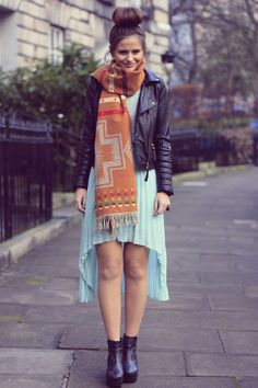 tribal scarf & leather jacket