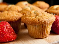 Easy Strawberry Muffins | Consider yourself warned…. these are decadent. And for someone like me who isn't a huge dessert freak, this is the perfect sweet.  It reminded me of a cross between a muffin & the best cupcake you've ever had.
