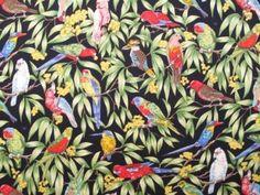 Birds in Paradise Cotton - Black
