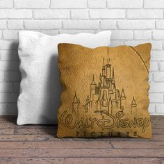 This is Walt Disney Logo Sketch pillow cushion -Removable poly/cotton cover pillows are soft and wrinkle free. -Hidden zipper enclosure. -Do not include insert. -Finished with a black or white back. -