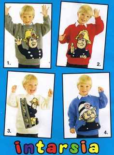 KNITTING PATTERN BOOK - Vintage Knitting Pattern booklet - Make Fireman Sam sweaters for all the family, uses DK yarn, charted instarsia knitting pattern designs.