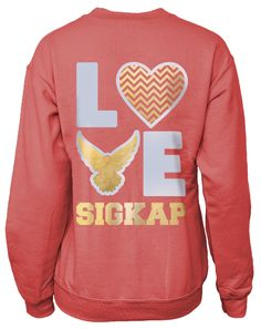 We can customize any design in our gallery for your sorority, fraternity, or event; including this Sigma Kappa Love Pullover Crew Neck Sweatshirt. Want to start from scratch? We can do that too! <3  Adam Block Design | Custom Greek Apparel & Sorority Clothes | www.adamblockdesign.com