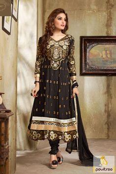 Black color Embroidered Salwar Kameez Rs 2110.5 #blacksalwarsuits #onlinesalwarsuits #designersalwarsuits #anarkalisalwarsuits