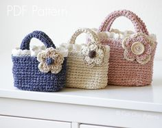 Crochet Tote Pattern 219 - Summer Tweed Mini Tote - Crochet Toddler Tote Bag - Blue, Cream, Pink Mini Handbags - Instant Download PDF