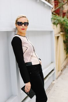 Black and pink sequin jacket with Paige jeans-Kacee from Life with Lipstick On