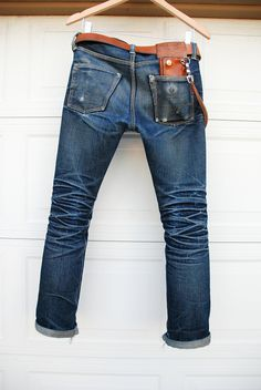 Blue Jeans. Worn. Tear. Fresh Look. Style. Leather Details. Fashion. Men.