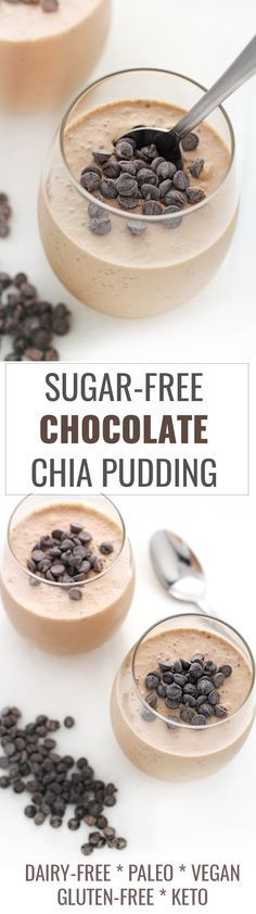 This sugar-free chocolate chia pudding recipe is vegan, paleo, keto, and can be prepared in under 5 minutes! It's the perfect healthy way to indulge a sweet tooth!