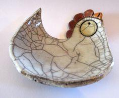 Posacenere gallina in ceramica Raku colori bianco/avorio by RAKULAB #italiasmartteam #etsy