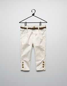 SATIN STRETCH TROUSERS WITH LEATHER PIPING - Trousers - Baby girl (3-36 months) - Kids - ZARA United States
