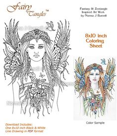Fairy Flutters Line Art Form - Fairy Tangles Coloring Sheet  Page by Norma J Burnell 8x10 Coloring Page for Adults Fairies