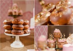 Pink and Gold Glitter Dessert Table by CW distinctive DESIGNS | www.cwdistinctivedesigns.com | Photography by Jac & Jules | #desserttables #donuts #cupcakes | Baptism Christening Dessert Station