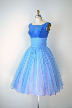1950s Party Dress / 50s Full Skirt Blue Dress / Prom Dress. $145.00, via Etsy.