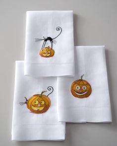 Three Pumpkin & Cat Halloween Guest Towels at Horchow.