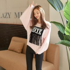 Korean Fashion Tassel long-sleeved sweater