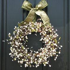 these are flower buds, but wouldn't it be cool to do a wreath like this all rigged up in lights? Christmas Door Wreaths, Fall Wreaths, Wreaths For Front Door, Fall Decor, Holiday Decor, Berry Wreath, Summer Wreath, Xmas Decorations, Christmas Inspiration