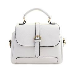 Fashionable Buckle and Solid Color Design Women's Tote Bag