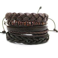 4PCS leather Bracelet Multi-Layer Bead Retro Punk Casual jewelry