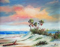 oil painting seascapes | seascape with sunny sandy beach is seen in this painting of the ...