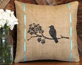 Adore this pillow!!!! Would go perfect with our new office. Colors, grey, yellow, and turquoise with birds. Shabby Chic ;) Need to find a great set of wingback chairs to paint or recover. Grey walls with turquoise and yellow accents, can't wait!!!! Just have to sell our house!!!    Rustic Bird with Burlap and Turquoise Ribbon