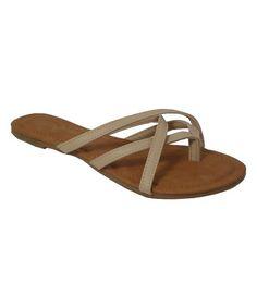 Beige Cross-Strap Apple Slide Sandal