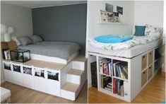 Diy Storage Bed, Bedroom Closet Storage, Storage Spaces, Bed In Closet, Loft Furniture, Furniture Design, Furniture Storage, Furniture Styles, Build A Loft Bed