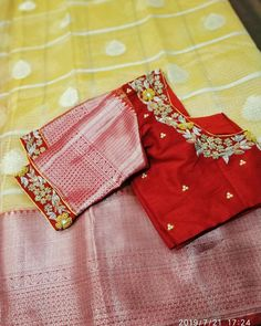 Beautiful kora kota sarees with rich border paired with heavy embroidered blouse Price Schöne Kora K Netted Blouse Designs, Choli Blouse Design, Stylish Blouse Design, Saree Blouse Neck Designs, Fancy Blouse Designs, Bridal Blouse Designs, Sari Bluse, Sumo, Kota Sarees