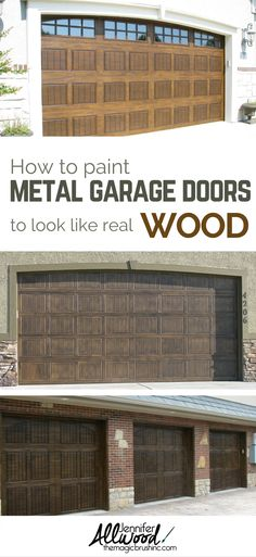 DIY learn how the professionals make  old metal garage doors look like authentic, stained wood! TheMagicBrushinc.com e-video is full of tips, products, and visual instruction to teach you how to give your home instant curb appeal with gorgeous, fauxed garage doors.