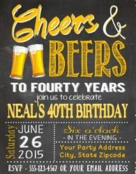 Cheers & Beers Adult birthday party invitation. 30th, 40th, 50th, or any age. An invitation any guy is sure to love!