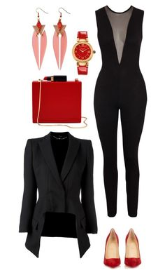 """Work Hard. Play Hard."" by mzjill on Polyvore featuring Alexander McQueen, Toolally, Versace, Christian Louboutin and Lulu Guinness"