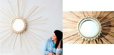 #DIY sunburst  made from wooden dowels and ping pong balls. See psimadethis.com